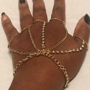 Five Finger Chains & Crystals Ring Tassel Bracelet